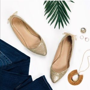 Gold Sparkle Pointed Flats with Bows on Back